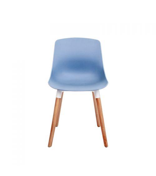 Niebieskie krzesło do jadalni z drewnianymi nogami