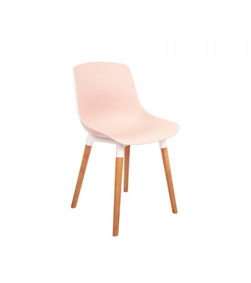 Różowe krzesło do jadalni z drewnianymi nogami