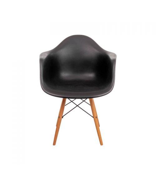 Krzesło skandynawskie z podłokietnikami i oparciem w kolorze czarnym