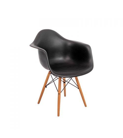 krzesło skandynawskie klasyczne czarne z oparciem i podłokietnikami wygodne
