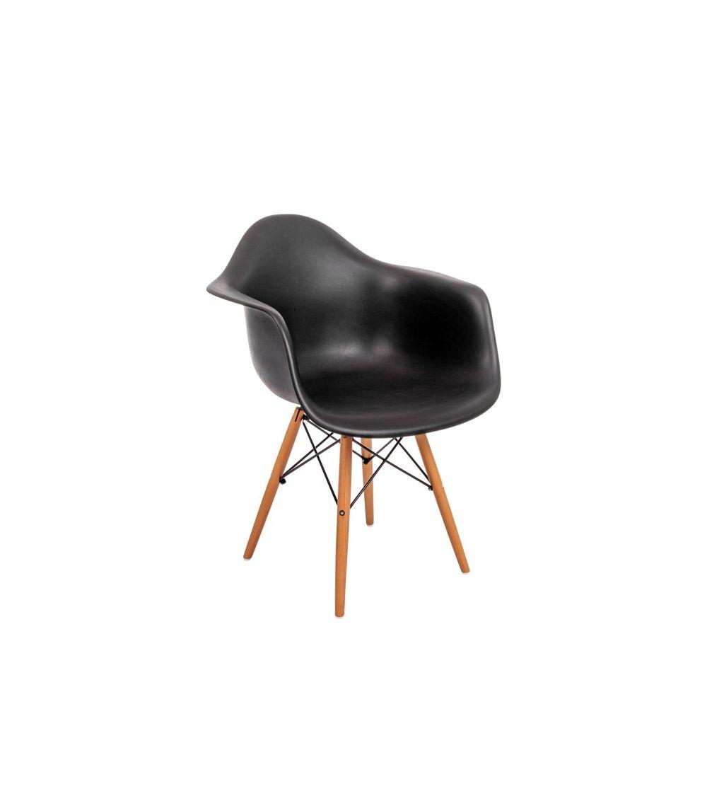 Czarne krzesło DSW do salonu na wzór wygodnego fotela