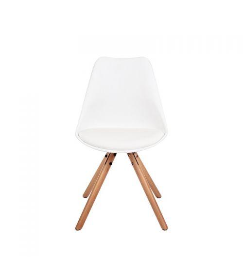 Nowoczesne krzesło do salonu w kolorze białym z drewnianymi nogami