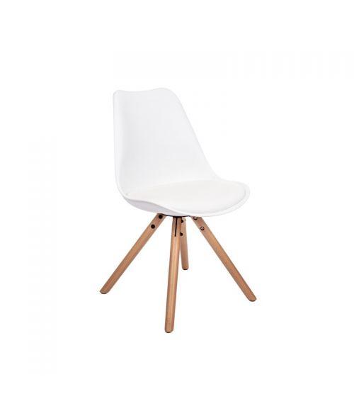 Nowoczesne krzesło do salonu w kolorze białym.