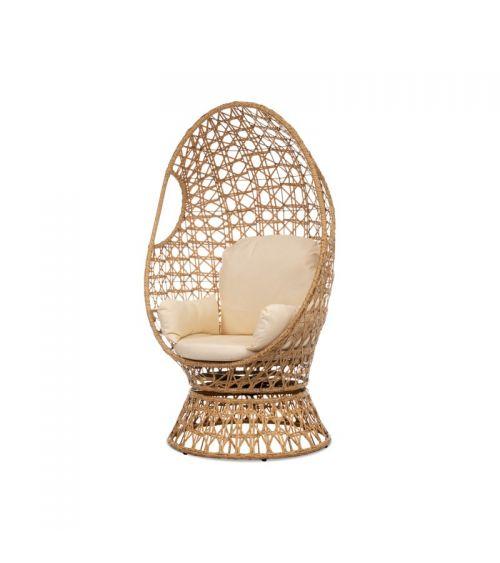 Fotel rattanowy do pokoju w kolorze kremowym