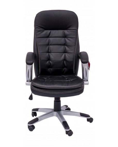 Skórzany fotel biurowy z podłokietnikami i wygodnym siedziskiem.