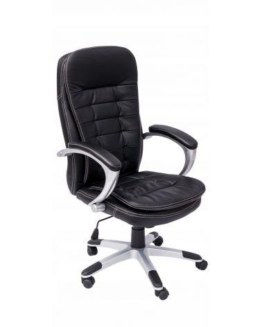 Fotel obrotowy z wyprofilowanym siedziskiem pokrytym ekoskórą.