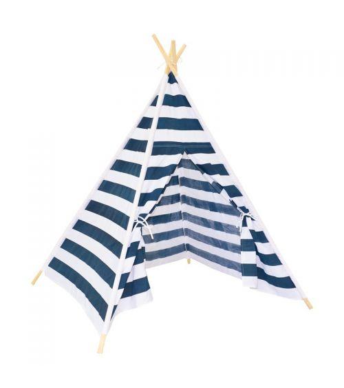Namiot TIPI dla dzieci w paski i solidną konstrukcją.
