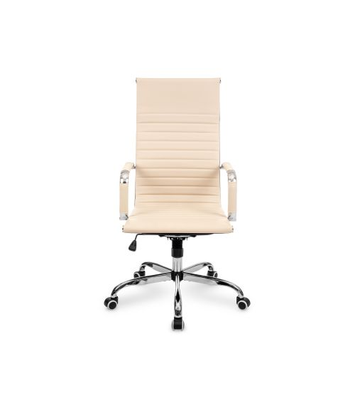 Beżowy fotel do biura z regulowaną wysokością