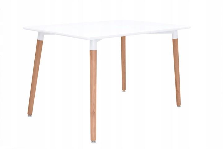 Biały nowoczesny stół kuchenny z drewnianymi nogami