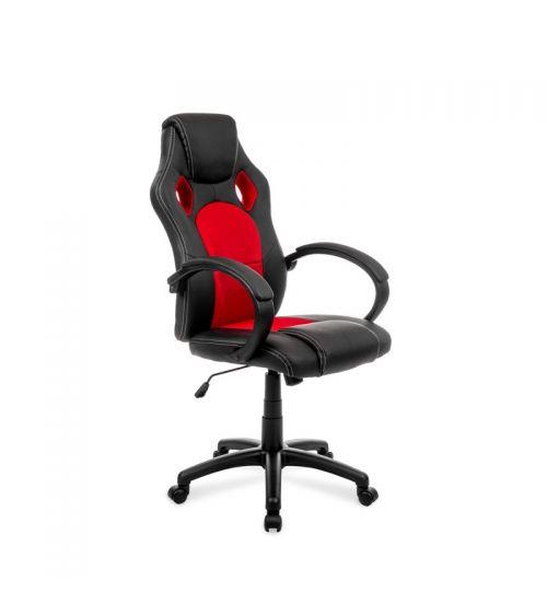 Czerwono-czarny fotel obrotowy biurowy z regulacją wysokości.