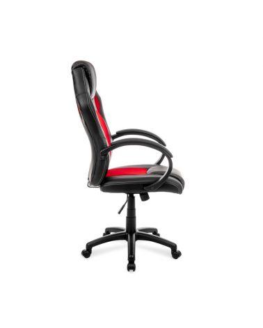 Ergonomiczny fotel obrotowy do biurka w kolorze czerwono czarnym.