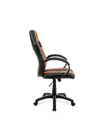 Ergonomiczny fotel obrotowy do biurka w kolorze pomarańczowo-czarnym.