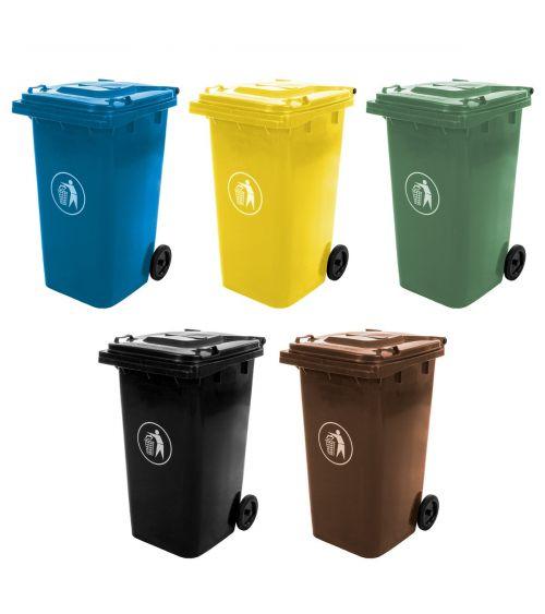 Kosze do segregacji odpadów 120L - szkło, plastik, papier, bio, mieszane.