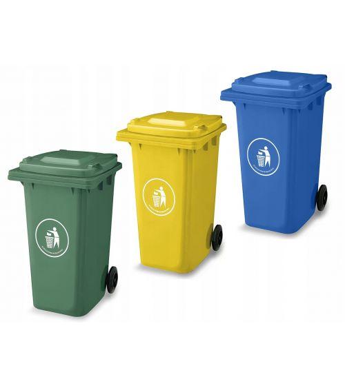 Kosze do segregacji odpadów 240L - szkło, plastik, papier.