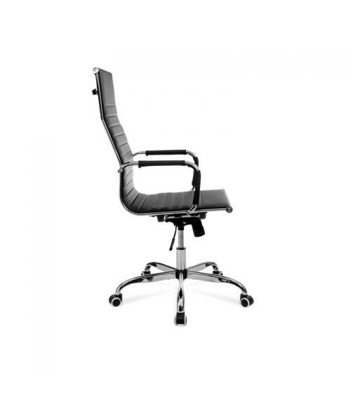 Czarny fotel do biura z regulowaną wysokością i ergonomicznie wyprofilowanym siedziskiem