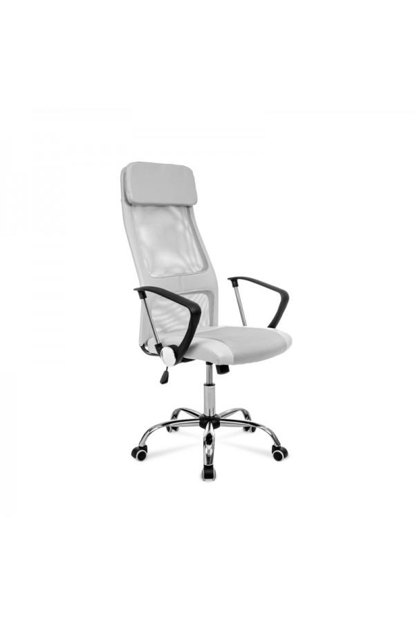 Popielaty fotel obrotowy do biurka z ergonomicznie wyprofilowanym siedziskiem i zagłówkiem.
