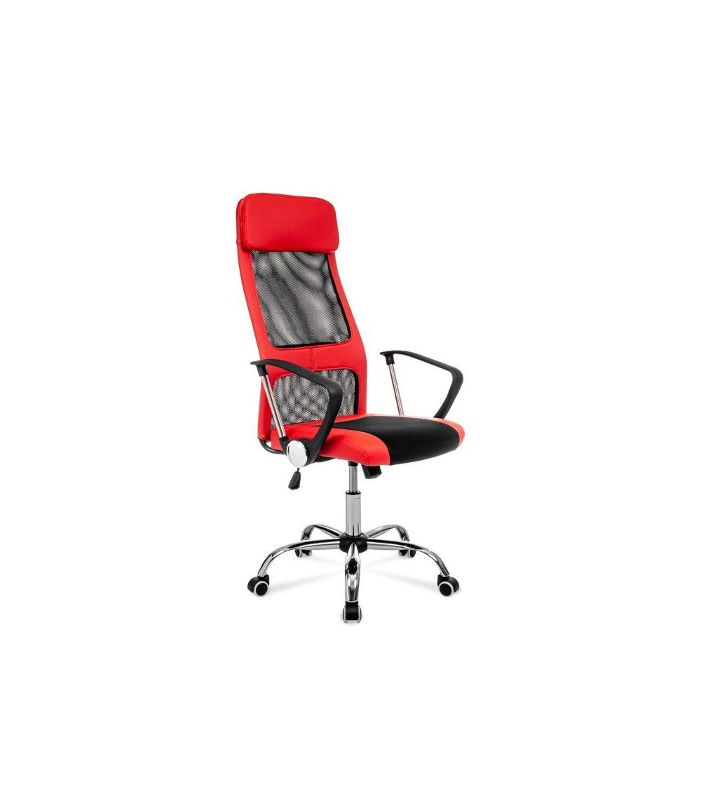 Czerwono czarny fotel obrotowy do biurka z ergonomicznie wyprofilowanym