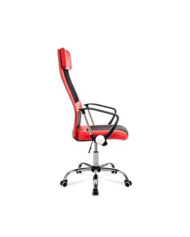 Wygodny fotel do biurka w kolorze czerwonym z czarną wstawką.
