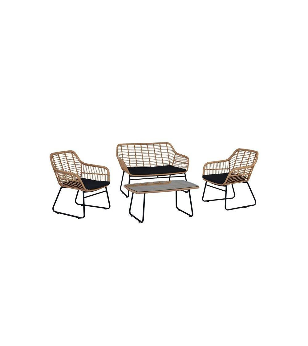 Kompleks mebli ogrodowych dla 4 osób z poduszkami na siedzisko doskonale sprawdzi się podczas wspólnych spotkań.