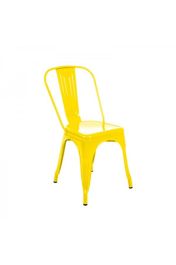 Metalowe krzesło ogrodowe w kolorze żółtym jest odporne na działanie warunków atmosferycznych.