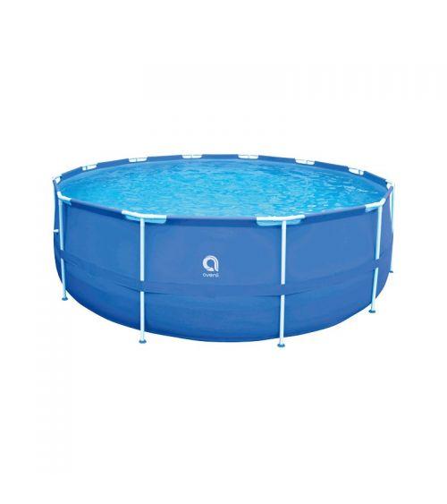 Duży basen rodzinny z drabinką i pokrywą ochronną w zestawie.