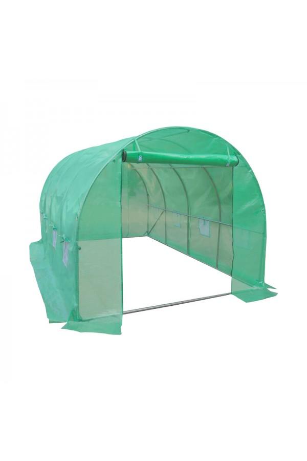 Domowy tunel foliowy ze zwijanymi drzwiami i powierzchnią 10m² .