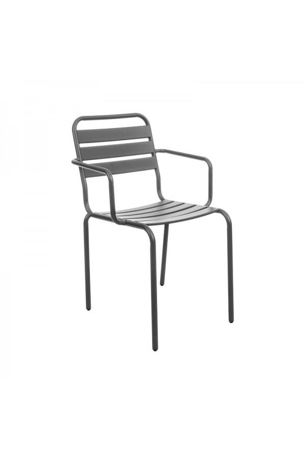 Stalowe krzesło w kolorze szarym