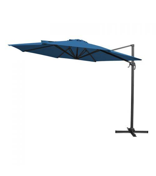 Niebieski parasol do ogrodu z szeroką czaszą oraz funkcją obrotu o 360 stopni.