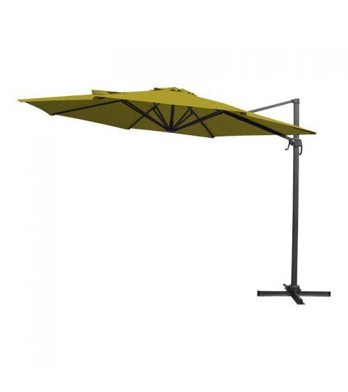 Limonkowy parasol do ogrodu z szeroką czaszą oraz funkcją obrotu o 360 stopni.