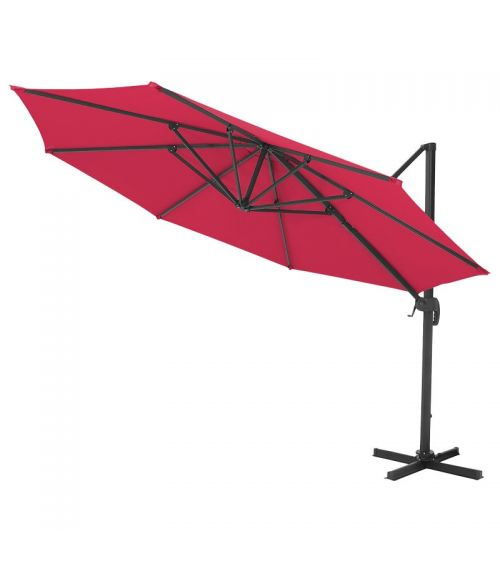 Duży parasol ogrodowy w kolorze fuksja z podstawą krzyżową i regulacją kąta nachylenia czaszy.