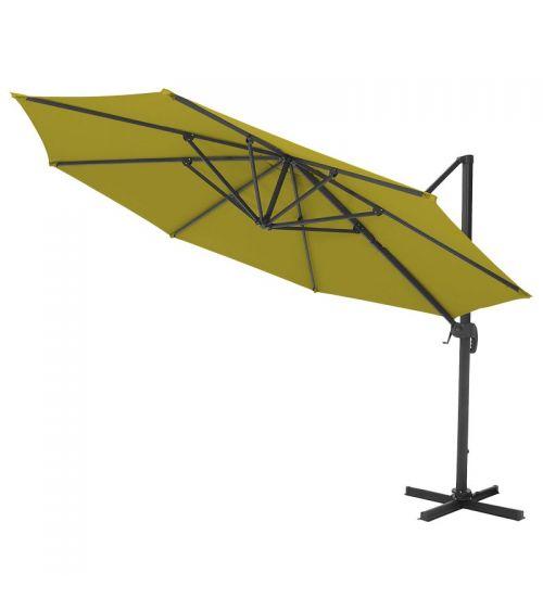 Duży parasol ogrodowy w kolorze limonkowym z podstawą krzyżową i regulacją kąta nachylenia czaszy.