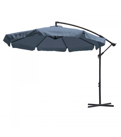 Duży parasol ogrodowy w kolorze grafitowym z podstawą krzyżową i wentylacją w czaszy.