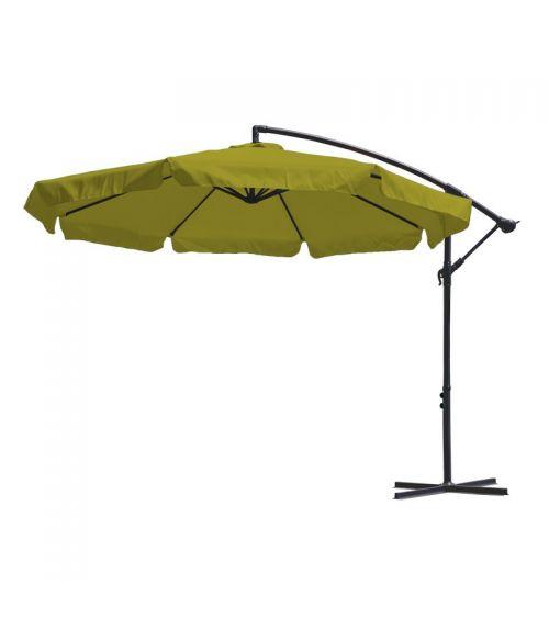 Duży parasol ogrodowy w kolorze limonkowym z podstawą krzyżową i wentylacją w czaszy.