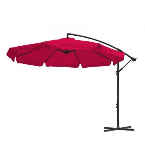 Duży parasol ogrodowy w kolorze fuksja z podstawą krzyżową i wentylacją w czaszy.