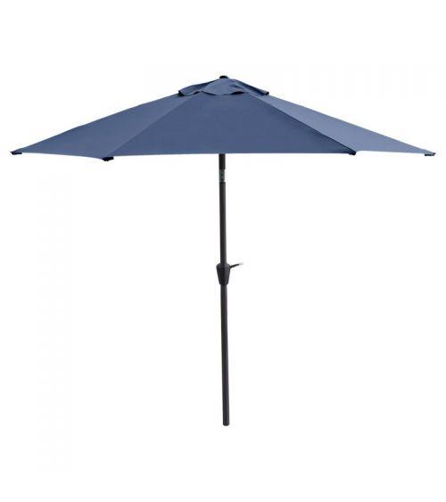 Duży parasol ogrodowy w kolorze niebieskim z szeroką czaszą wzmocnioną konstrukcją 6-żebrową.