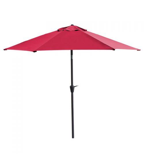 Duży parasol ogrodowy w kolorze fuksja z szeroką czaszą wzmocnioną konstrukcją 6-żebrową.