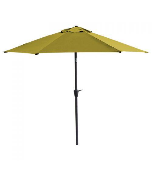 Duży parasol ogrodowy w kolorze limonkowym z szeroką czaszą wzmocnioną konstrukcją 6-żebrową.