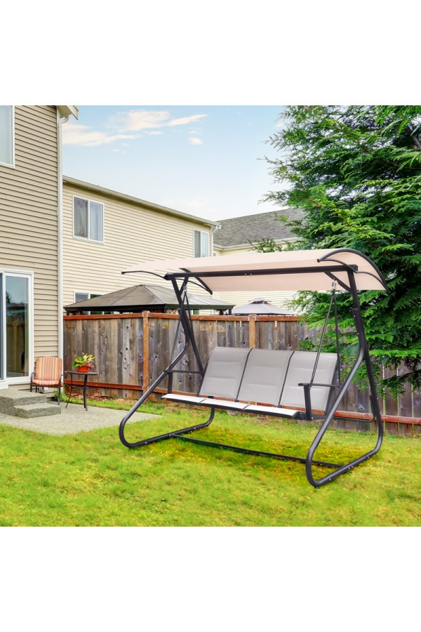 Huśtawka ogrodowa z daszkiem ochraniającym prze promieniami słonecznymi oraz letnim deszczem.