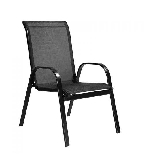 Metalowe krzesło ogrodowe w kolorze czarnym z podłokietnikami i przewiewnym oparciem.
