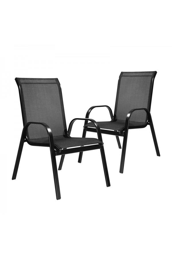 Zestaw krzeseł ogrodowych w kolorze czarnym.