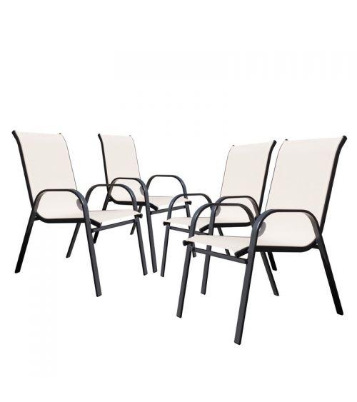 Beżowe krzesła ogrodowe - zestaw 4 krzeseł.