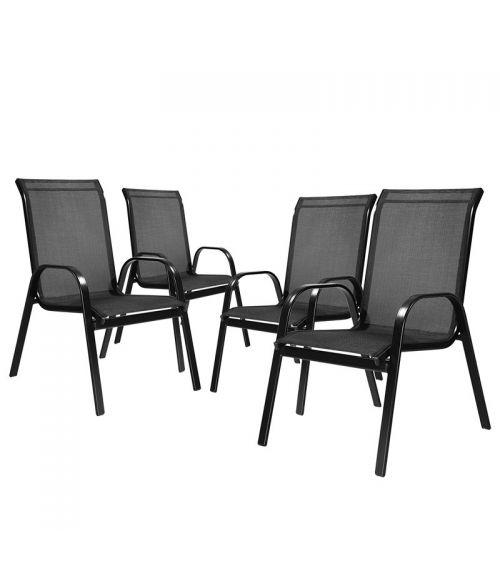 Cztery krzesła ogrodowe w kolorze czarnym