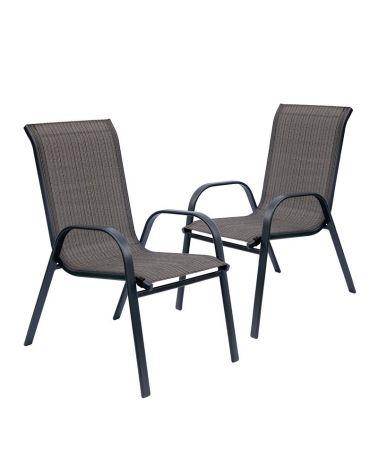 Zestaw krzeseł ogrodowych w kolorze brązu i szarości.