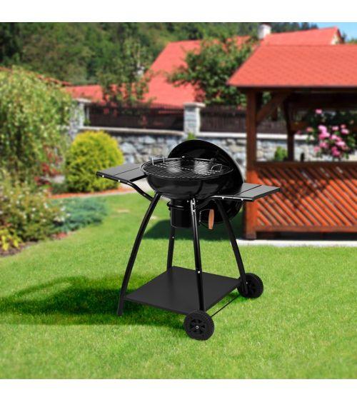 Grill kulisty w kolorze czarnym - grill z półkami to doskonały wybór dla największych smakoszy.