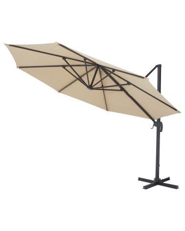 Duży parasol ogrodowy w kolorze beżowy.