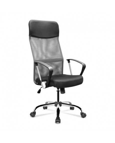 Fotel obrotowy z ergonomicznym siedziskiem w kolorze czarno-szarym.