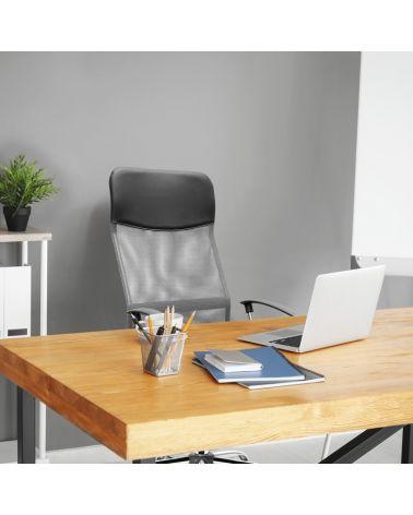 Ergonomiczny fotel biurowy z funkcją obrotu w kolorze szaro-czarnym.