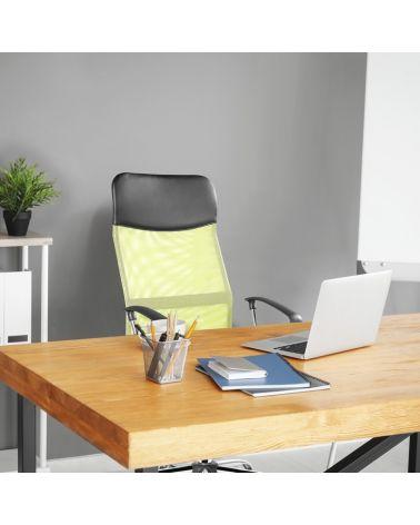 Zielono-czarny fotel do biurka z ergonomicznie wyprofilowanym siedziskiem.