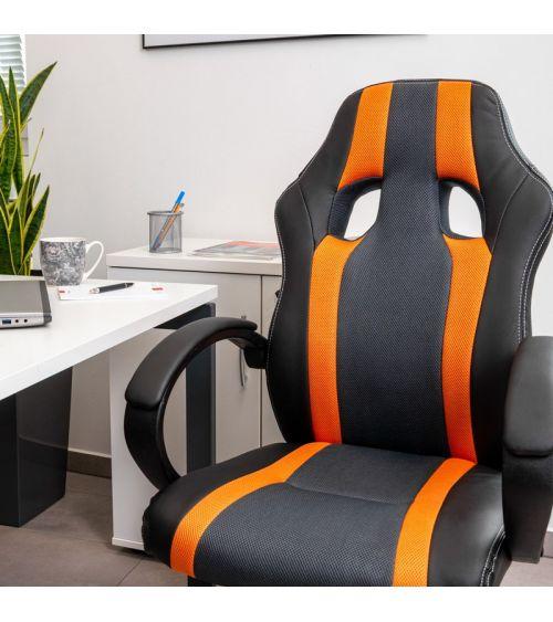 Pomarańczowo-czarny fotel obrotowy biurowy z regulacją wysokości.