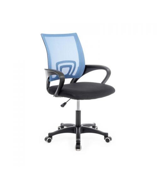 Niebieski fotel obrotowy z siatką i wsparciem kręgosłupa.
